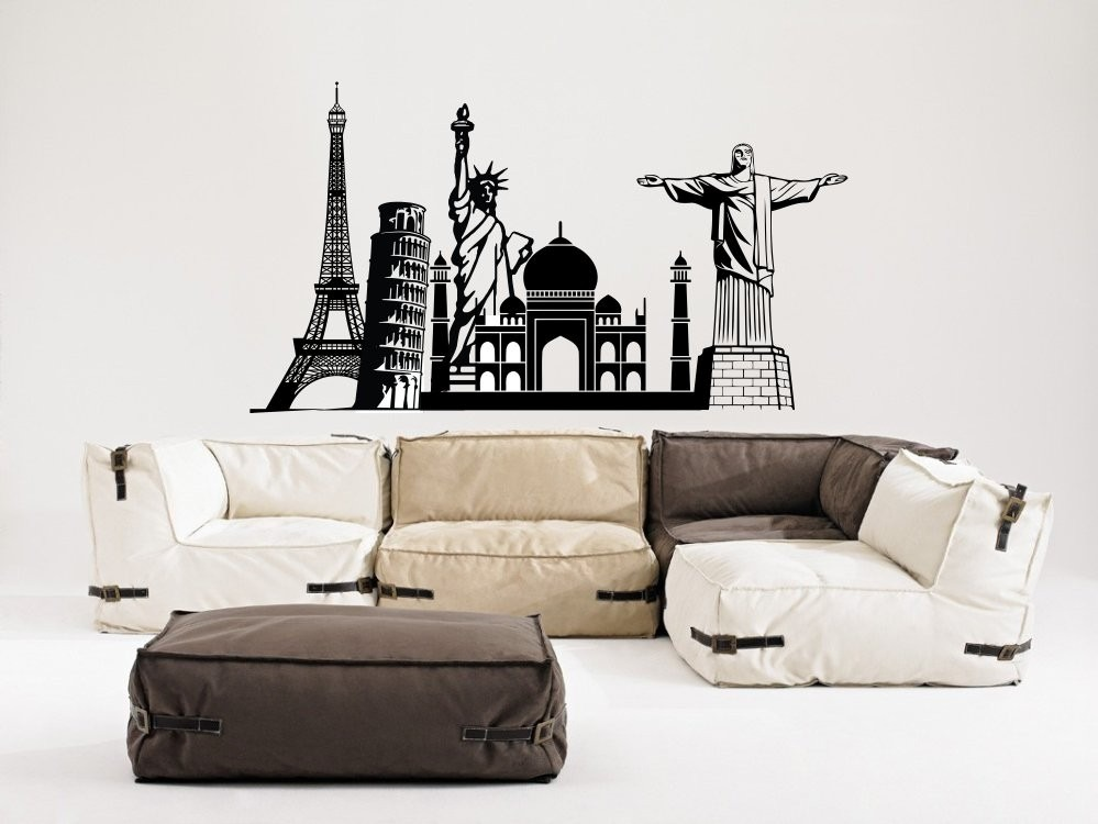 Vinilo decorativo estilo varios monumentos grande para for Stickers decorativos de pared