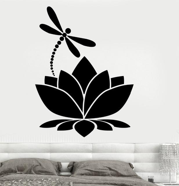 Vinilo Decorativo Flor Loto Libelula De 6000 Diseños Pro