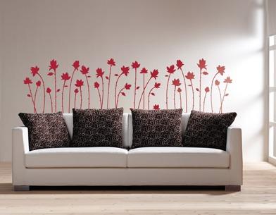 Vinilo decorativo flores cabecera sala rec mara for Vinilos decorativos recamaras