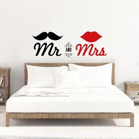 frases de cama Vinilo Decorativo Frase Hogar Cabecera Cama Mr And Mrs