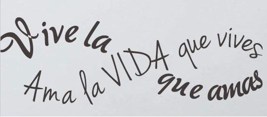 Vinilo Decorativo Frase Vive La Vida Que Amas Negro Oferta