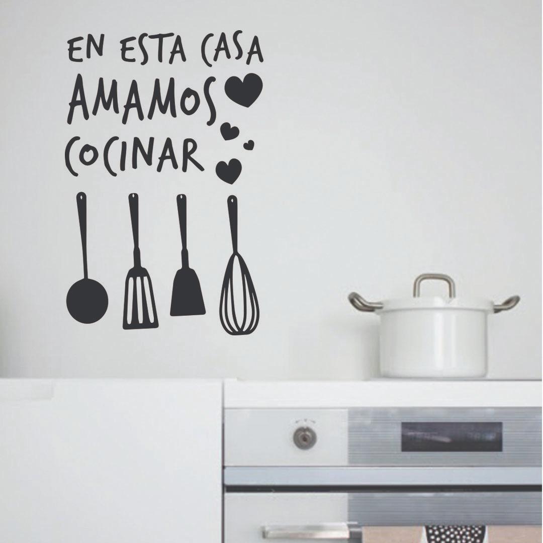 Vinilo Decorativo Frases Cocina En Esta Casa Amamos Cocinar
