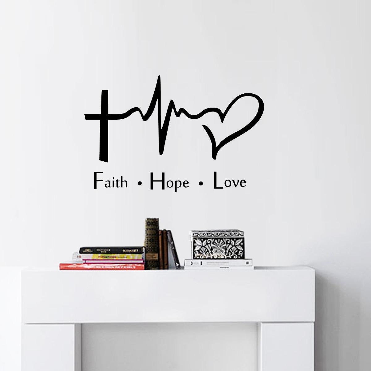 Vinilo Decorativo Frases Fate Hope Love Fe Esperanza Amor