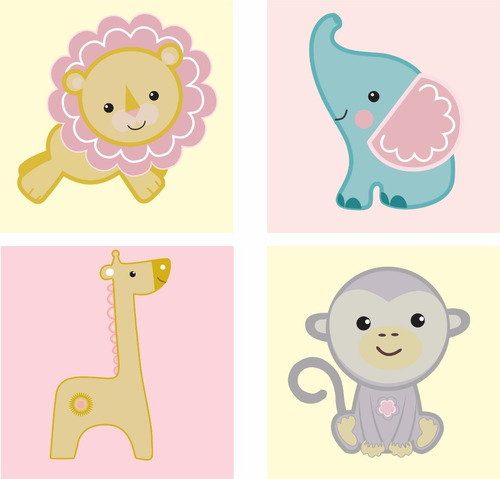 vinilo decorativo infantil animalitos cuarto niña bebe