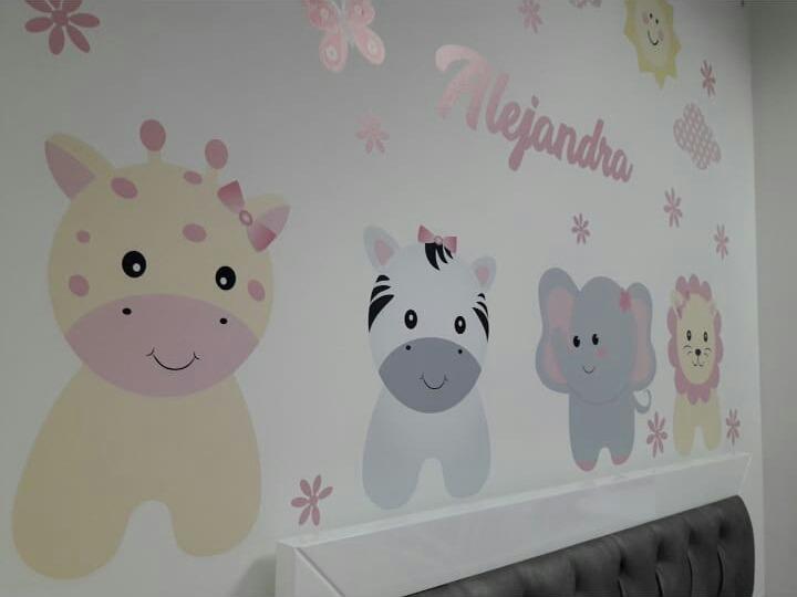 Vinilo Decorativo Infantil Animalitos Cuarto Niña Bebe - $ 175.000 ...