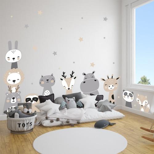 vinilo decorativo infantil animalitos nordico grande