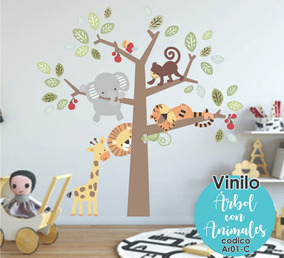 Vinilo Decorativo Infantil Arbol Con Animales Bebe 190x190