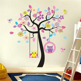 Vinilo Decorativo Infantil Cuarto Del Bebe árbol Buhos Niña