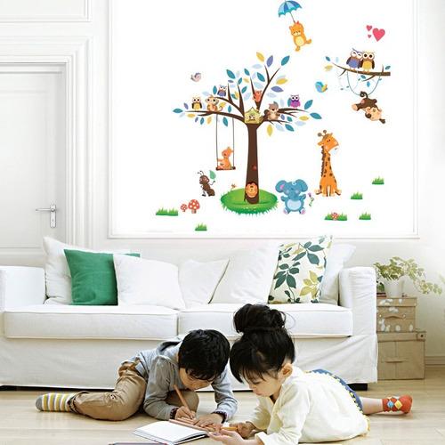 vinilo decorativo infantil cuarto del bebe árbol niños