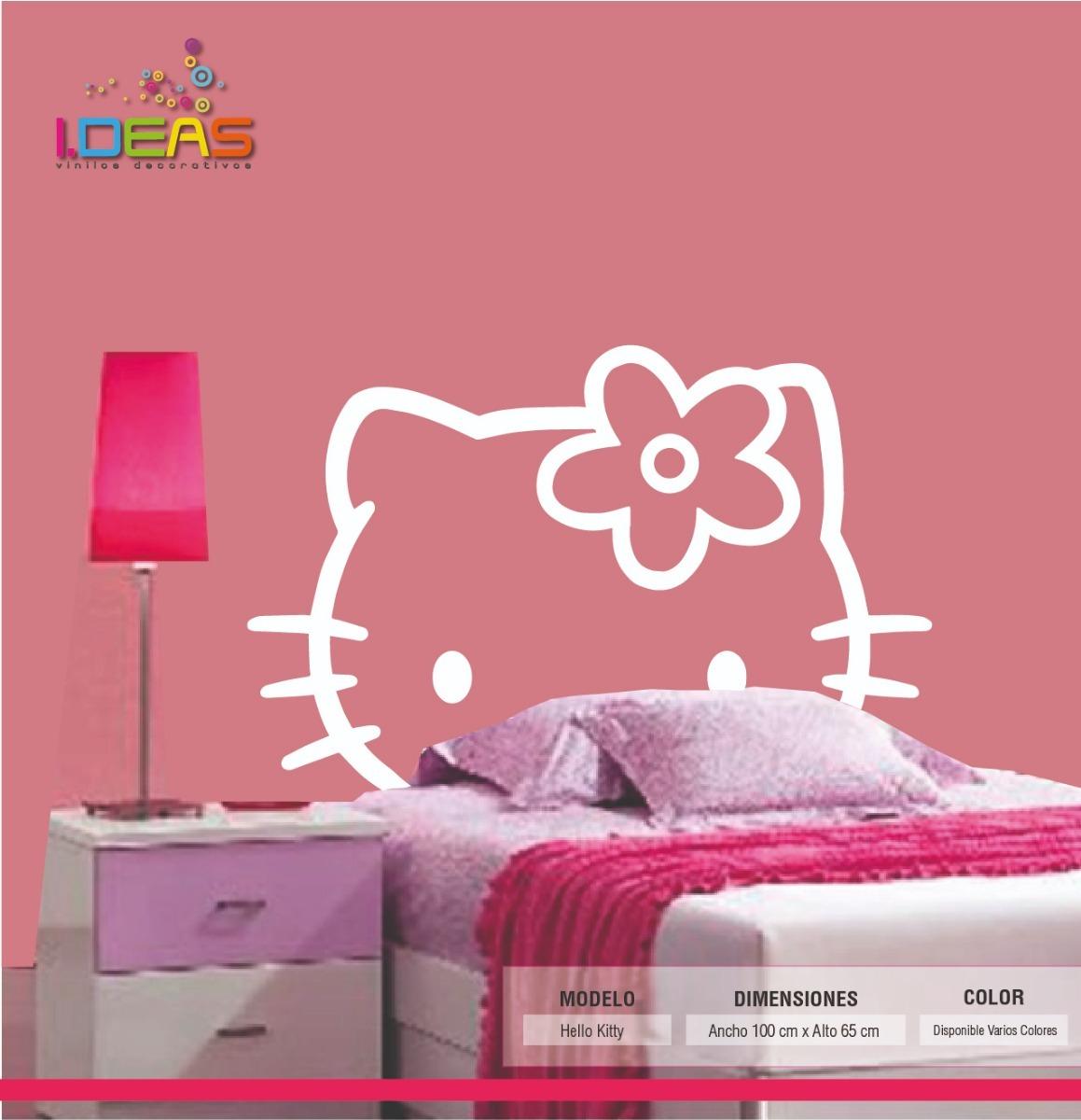 Vinilos Hello Kitty Pared.Vinilo Decorativo Infantil Hello Kitty Sticker De Pared Calcomania 100x65cm
