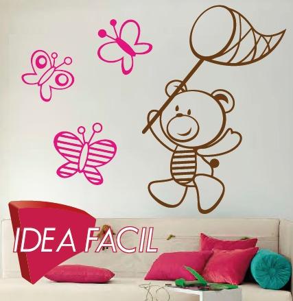 vinilo decorativo infantil oso 80x60 y 3 mariposas 15x15