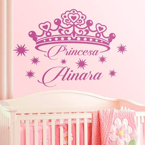vinilo decorativo infantil princesa personalizada 80 x 60 cm