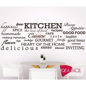 Vinilo Decorativo Kitchen Cocina Palabras Ingles 150x50cm