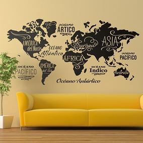 Vinilo Decorativo Mapa Mundial Mapamundi Pared Gigante 2x1 M