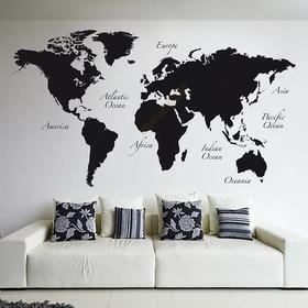 Vinilo Decorativo Mapa Sencillo Con Nombres 100x60cm