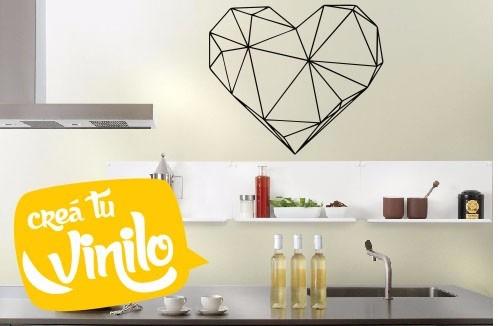 vinilo decorativo mural geométrico corazón