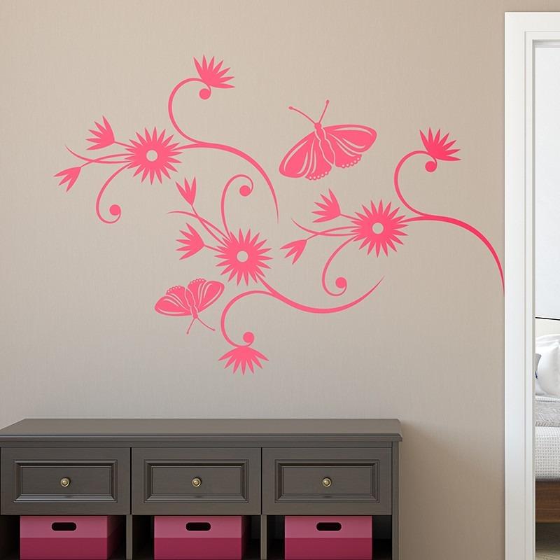 73196bab13c vinilo decorativo naturaleza diseño floral flores mariposa. Cargando zoom.
