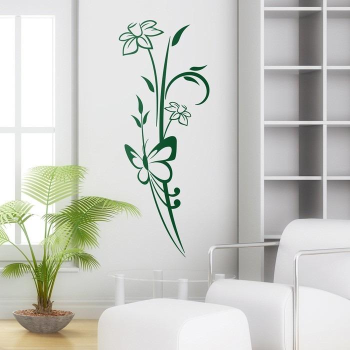 ef1e56ca1f4 Vinilo Decorativo Naturaleza Diseño Mariposas Flores Floral -   379 ...