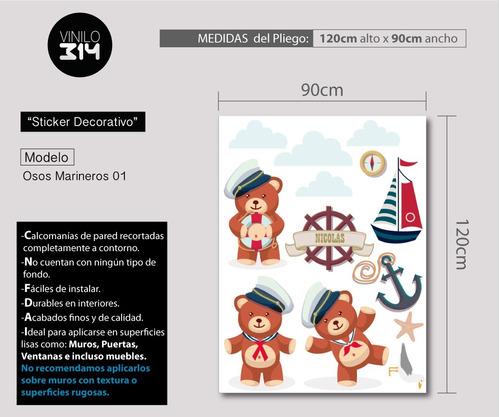 vinilo decorativo osos marineros, stickers gigantes nautico