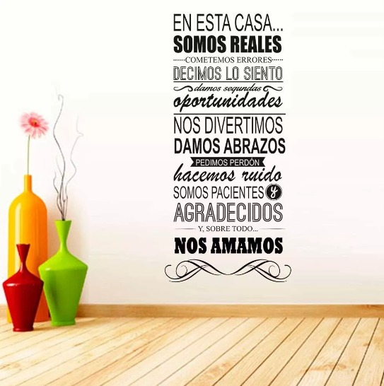 Vinilo decorativo para pared frase familia en for Pegatinas frases pared