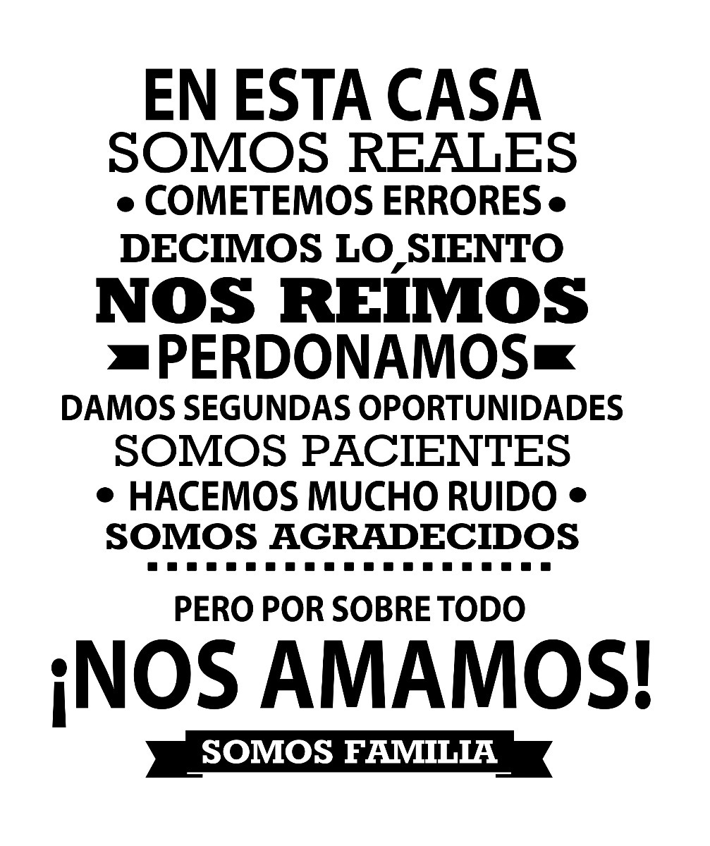 Vinilo Decorativo Para Pared Frase Familia En Español 65000