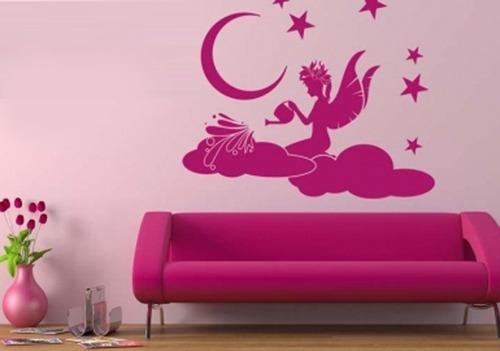 vinilo decorativo para pared hada regando las nubes