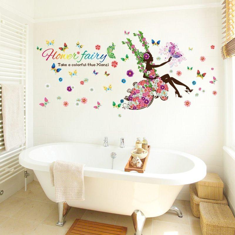 Vinilo decorativo para paredes dise o flores y hadas en mercado libre - Vinilos para espejos ...