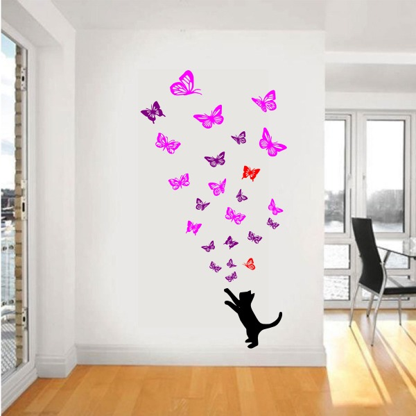 Vinilo Decorativo Pared Gato Con Mariposas 110x210cm