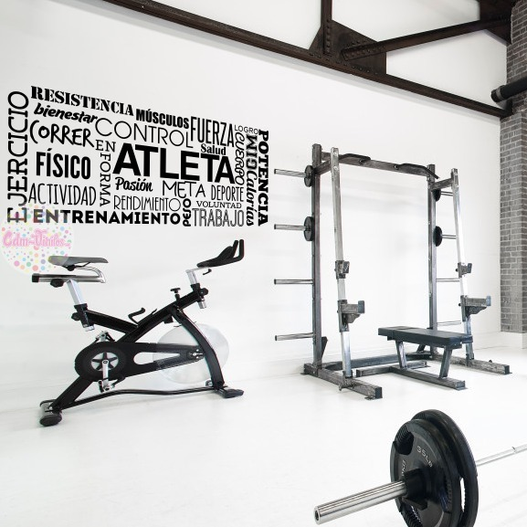 Vinilo Decorativo Pared Gimnasio Fitness Frases 200x84cm