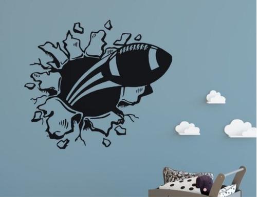 vinilo decorativo pelota rugby rompe pared deporte 60x65