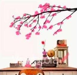 vinilo decorativo rama cerezos - 100 b x 60 a