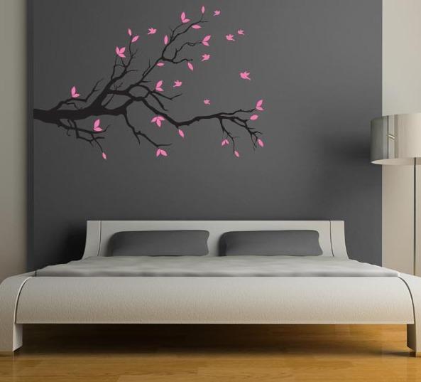 Vinilo decorativo rama con hojas sala recamara cabecera for Recamaras con cabecera tapizada