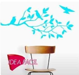 vinilo decorativo rama con pájaros - 130 b x 60 a