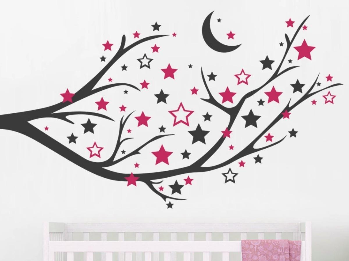 Vinilo Decorativo Rama De Arbol Hojas De Estrellas Luna