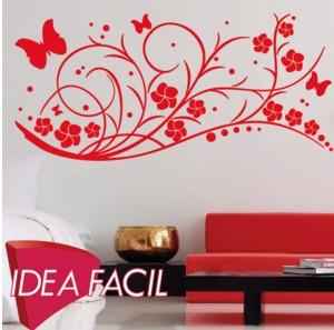 vinilo decorativo rama y mariposas - 150 b x 100 a