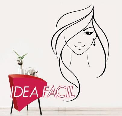 vinilo decorativo rostro mujer salon belleza - 100 b x 150 a