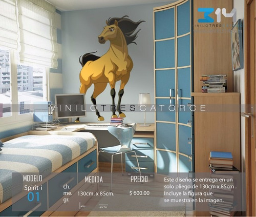 vinilo decorativo spirit-i 01, calcomanía de pared caballo.