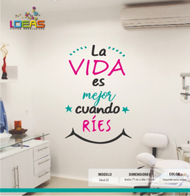 Vinilo Decorativo Sticker De Pared Frase La Vida Es Mejor 115x77cm