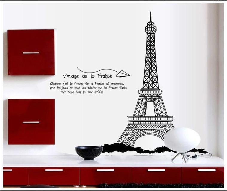Vinilo Decorativo Torre Eiffel Con Frase