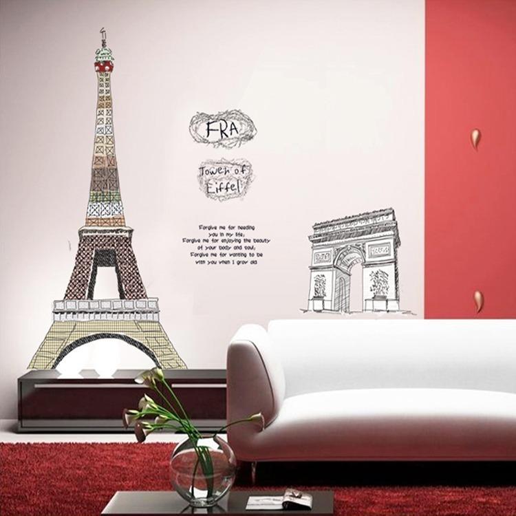 Vinilo Decorativo Torre Eiffel Y Arco Del Triunfo Con Frase