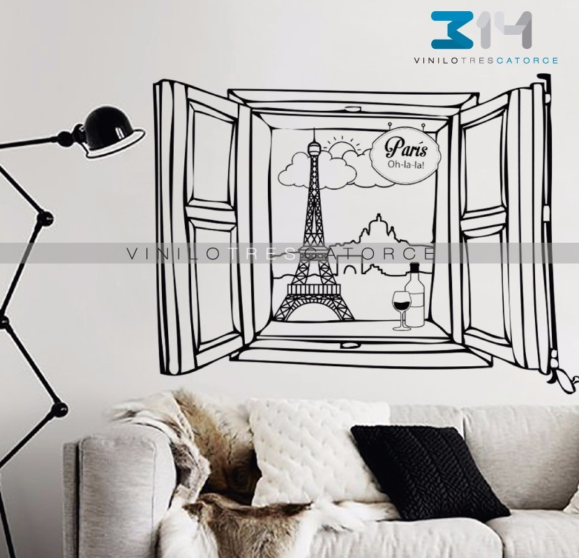 Vinilo decorativo ventana paris sticker gigante torre for Vinilo gigante pared