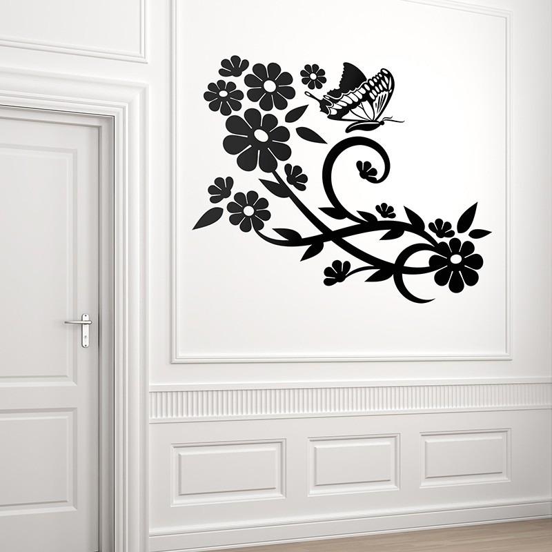 be5827df361 vinilo decorativos naturaleza diseño floral flores mariposa. Cargando zoom.