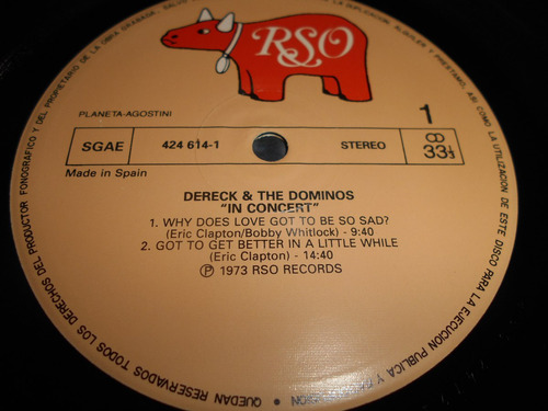 vinilo derek & the dominos  in concert