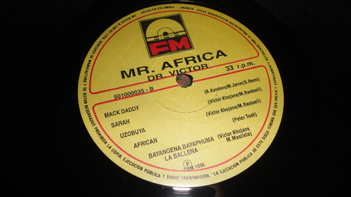 vinilo dr. victor mar africa one goal one wish