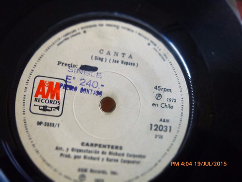 vinilo ep  de carpenters -- canta( r139
