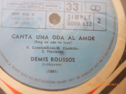 vinilo ep  de  demis roussos canta una oda de amor( j53