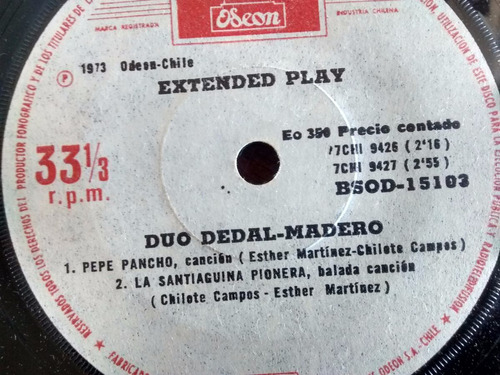 vinilo  ep  de duo dedal -madero - corazon de escar ( t74