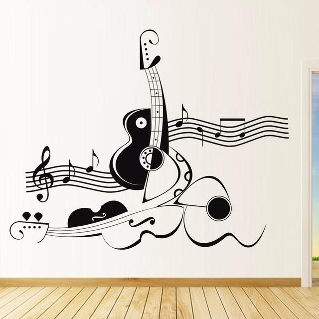 vinilo guitarras notas musicales mas de 1000 dise os pro en mercado libre. Black Bedroom Furniture Sets. Home Design Ideas