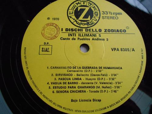 vinilo inti-illimani 5 canto de pueblos andinos vol ii