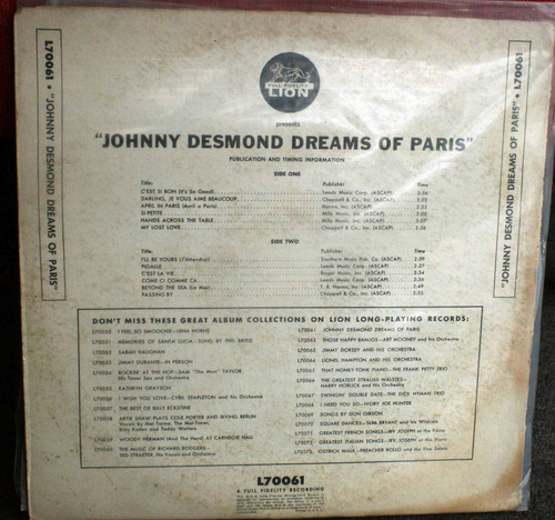 vinilo johnny desmond dreams of parisjonny desmond